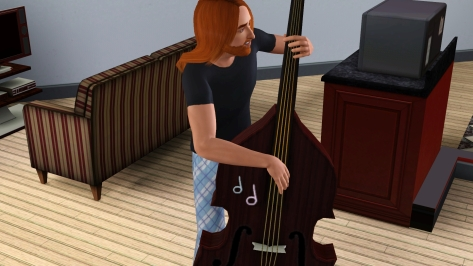 Pete, during his post-dump bass session, seemingly getting a bit too intimate with his instrument…
