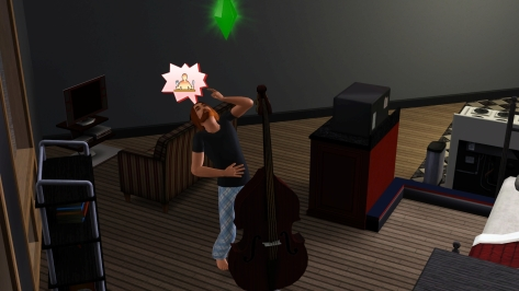 I believe he's calling out to the SimGods, telling them where exactly he wants to be fed