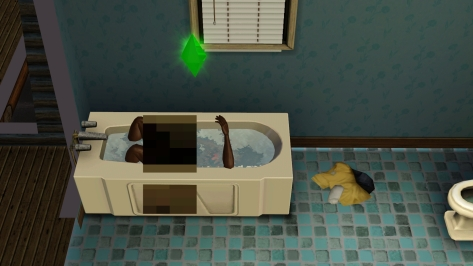 I'm going to avoid making a comment about the size of that pixel box, and instead note that he stayed underwater for about 5 minutes. I'm assuming he was looking for the soap. Also, his Lil' Robi must be massive.