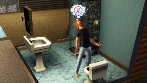 This is how the 33rd day began. With an angry ginger, cursing the Sim Gods for their lack of piss-related guidance.