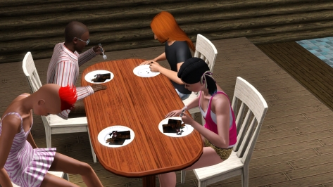 Her underworld affiliations can't be discerned from this picture. However, Pete just straight-up demolished that plate of demon flesh. I was beginning to think Robi had somehow corrupted them all with his as-of-yet hidden warlock powers. I mean, even Farrah seemed to be in some kind of trance!