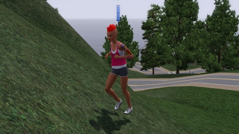 She still hasn't quite gotten down this whole jogging thing yet