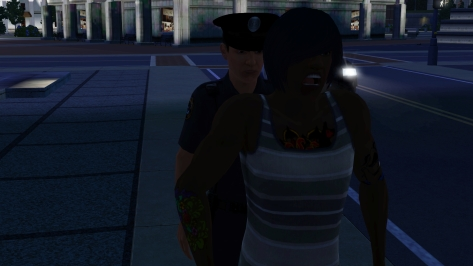 Here's a bonus picture: Robi's face as the cop was cuffing him. I laughed so hard